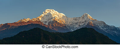 Annapurnas at sunrise panoramic view, Nepal