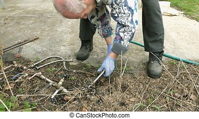 Senior elderly man plumbs water pipes in garden - Senior...