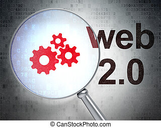 Web development concept: Gears and Web 20 with optical glass...