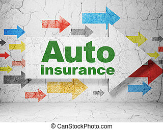 Insurance concept: arrow with Auto Insurance on grunge wall...