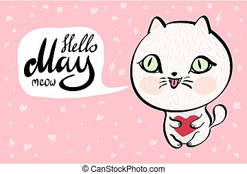 Cartoon cat with Hello May meow banner background Vector...