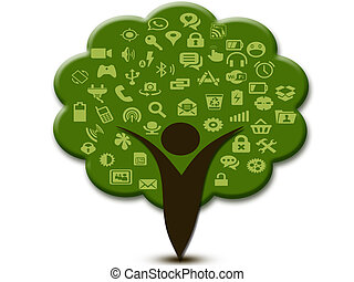Social media icons branches and human trees