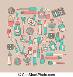 Vector doodle set of perfume and cosmetics