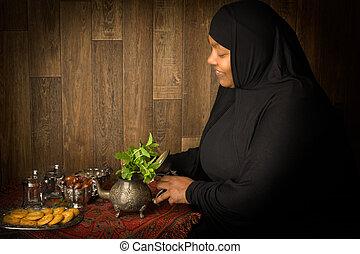 préparer, thé, pour, ramadan,