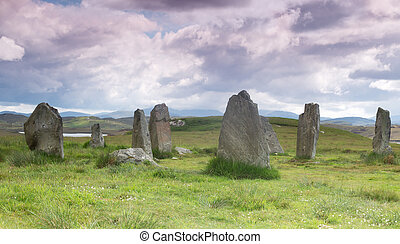 Stone cirle on Outer Hebrides - Megalithic stone circle of...