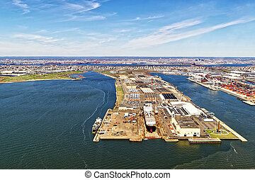 Bayonne Dry Dock and Repair - Aerial view of Bayonne Dry...