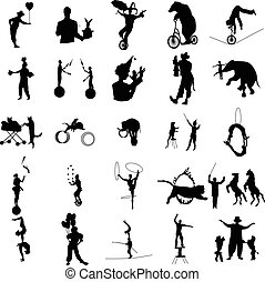 Circus silhouette set, simple style