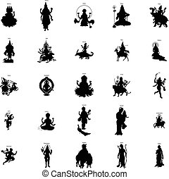 Indian gods silhouette set, simple style - Indian gods...