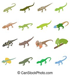 Lizard icons set, isometric 3d style - Lizard icons set in...