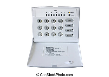Alarm Control Box - Alarm Control box isolated on white,...