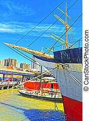 Fragment of Ship in harbor of South Street Seaport -...