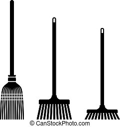 sweeping broom black symbols - illustration for the web