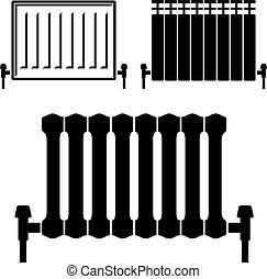 central heating radiator black symbols - illustration for...