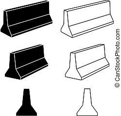 3d concrete road barrier black symbols - illustration for...