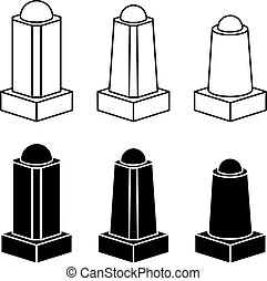 3d modern concrete bollard black symbols - illustration for...