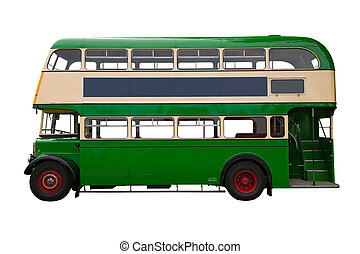 Old Green double decker bus - Vintage green double decker...