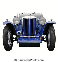 Vintage blue sports car