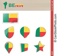 Benin Flag Set, Flag Set #68. Vector.
