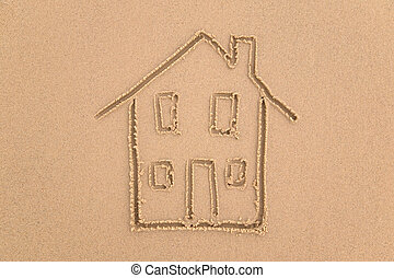 Beach house. - Sand drawing of a house.
