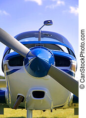 Light aircraft frontal - Close up of the front of a light...
