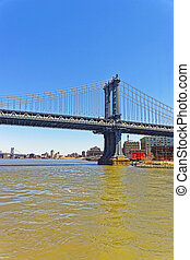 Manhattan bridge above East River The Bridge connects Lower...