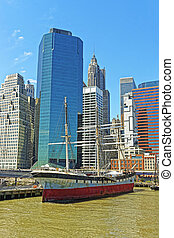 Ship in harbor of South Street Seaport of Manhattan - Ship...