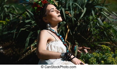 Young female model in mexican dress posing outdoor - Young...