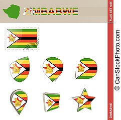 Zimbabwe Flag Set, Flag Set #85. Vector.