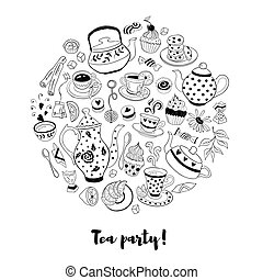 Tea party illustration - Tea time poster concept. Tea party...
