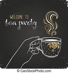 Tea party invitation - Tea time poster concept. Tea party...