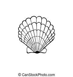 Sea shell icon - Hand drawn sea shell. Scallop outline....