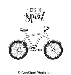 Hand drawn bycicle icon - Inspirational print about sport....