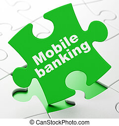 Money concept: Mobile Banking on puzzle background