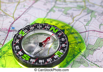 Compass on map - A compass with marked degrees and a north...