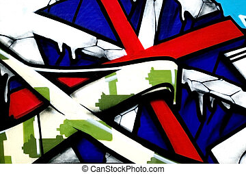 Graffiti red cross - Bright vibrant graffiti image painted...