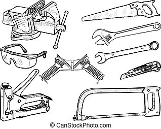 Hand Tools collection - Hand drawn tool kit, set of...