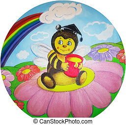 Drawing bee with a bucket of honey on a flower - Drawing...