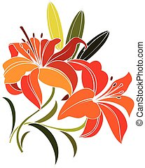 scarlet lily flower - bright orange, scarlet lily flower...