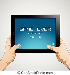 Hand Hold Tablet - Hand Holding Tablet playing games