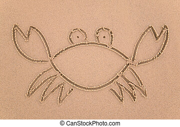 Sand crab - Drawing of a crab in sand at the beach.