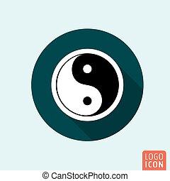 Ying yang icon Harmony and balance symbol Vector...