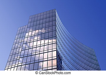 Modern glass office building - Modern smoked glass office...