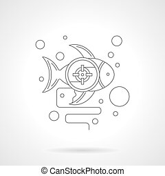 Underwater photo hunt detailed line vector icon - Fish with...