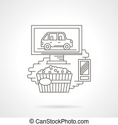 Movie at home detailed line vector icon