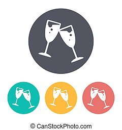 Vector stemware icon - Vector flat stemware icon with set of...