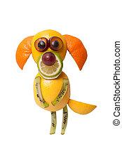 divertido, fruta, perro, en, Mendigar, postura, en, blanco,...