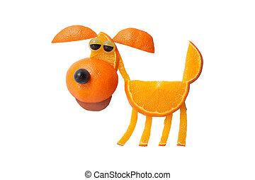 perro, hecho, de, naranjas, en, aislado, Plano de fondo,