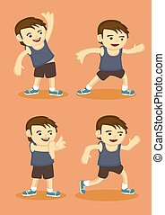 Cute Sporty Boy Doing Simple Stretching Exercises - Vector...