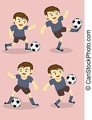 Soccer Boy Vector Cartoon Illustration - Set of four vector...