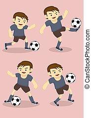 Soccer Boy Vector Cartoon Illustration